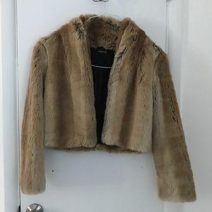 Trouve Jackets & Coats - Cropped faux fur jacket